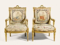 A PAIR OF LOUIS XVI STYLE BEAUVAIS TAPESTRY COVERED CARVED GILTWOOD FAUTEUILS, AFTER A MODEL BY GEORGES JACOB, 19TH CENTURY<br><br>each with piastre and leaf carved frames, the rectangular padded backs with bay leaf wreath crests and volute scrolls, the padded and scroll ended arms and stuffed seats on stop-fluted turned tapering legs, the Beauvais tapestry panels designed by Jean-Jacques Lagrenée (1739-1821) and probably woven between 1787 and 1791 under the directorship of de Menou…