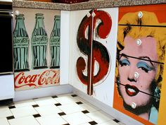 Hometalk :: Decoupage Kitchen Cabinets With Andy Warhol Posters