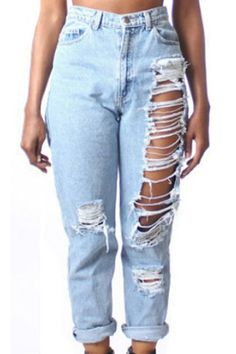 Ripped High Waisted Solid Color Jeans LIGHT BLUE: Denim | ZAFUL