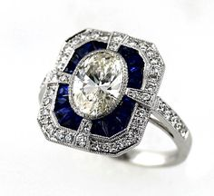 Omg! Bardy's Estate Collection. Diamond and Sapphire Art Deco Style Ring. #deco #engagementring