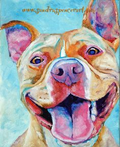 Original Pit Bull Oil Painting 8x10 gotta love that by mybunnies3