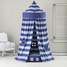 Would love one of these for the boys- could attempt to make, but want it to look nice enough to leave up for a long time and not just a cheap looking one...    The Land of Nod   Kids Canopy: Blue Striped Play Circus Tent in Playhomes and Tents