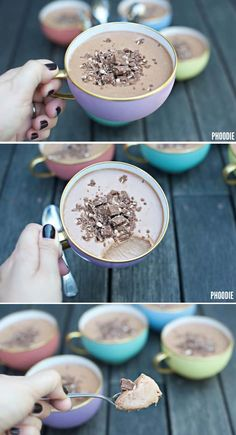 You are going to love Phoodies 3 Ingredient Toblerone Mousse Recipe and we have the video instructions to show you how. This recipe has broken the internet! - March 16 2019 at Toblerone Chocolate, Coconut Hot Chocolate, Chocolate Mousse Recipe, Quick Easy Desserts, Vegan Cake, 3 Ingredients, Sweet Recipes, Dessert Recipes, Cooking Recipes