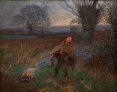 Sir George Clausen (1852-1944) - Birdscaring (Boy Scaring Birds Away with a Wooden Clapper), 1896