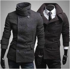 Peacoat.  Men's Dual Collar Slim Fitting Coat CLAM767897E