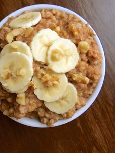 Slow Cooker Banana Nut Oatmeal Recipe ~ Steel cut oats cook overnight with bananas, walnuts and spices to create a healthy, make-ahead breakfast that will be waiting for you in the morning!