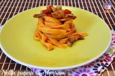 Tagliatelle ai funghi Thai Red Curry, Carrots, Pasta, Vegetables, Ethnic Recipes, Blog, Tagliatelle, Carrot, Vegetable Recipes