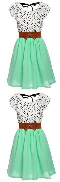 Zeagoo Women Chiffon Summer Dots A-line Pleated Party Cocktail Dress With Belt, Light Green, Medium