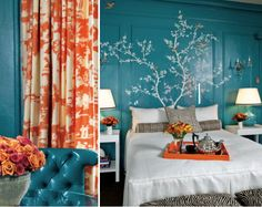 Turquoise and coral bedroom suite