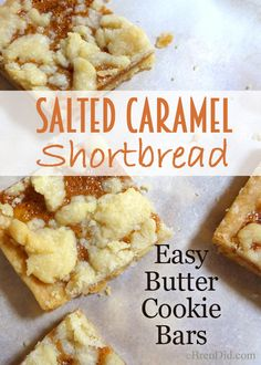 Salted Caramel Shortbread - this easy recipe makes a big batch of buttery, salted-caramel bar cookies perfect for Christmas or everyday. Caramel Shortbread, Salted Caramel Cookies, Shortbread Cookies, Bar Cookies, Salted Caramels, Cookie Bars, Sandwich Cookies, Real Food Recipes, Cookie Recipes
