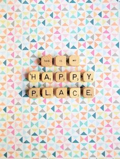 Happy Place. Fine Art Photography. Word Dice. Scrabble Tiles. Geometric Print. Rainbow. Neon. Triangles. Home Décor. Wall Art. Size A4