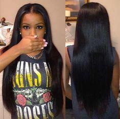 "wearing 22"" 24"" silky straight virgin Brazilian hair http://www.latesthair.com/"