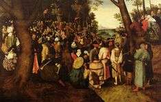 A Landscape With Saint John The Baptist Preaching, Oil On Panel by Pieter Bruegel The Younger (1564-1636, Belgium)