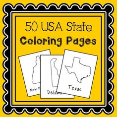 USA States Coloring Pages. This booklet contains one page per state. Encourage your students to research facts about the states and write them around the state shape. If you'd like to take more time with this topic, check out my USA Capitals and Abbreviations Interactive Notebook.