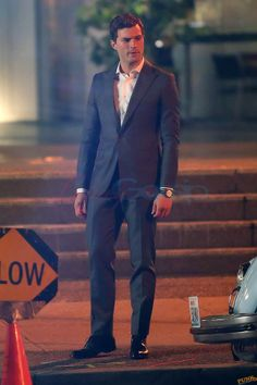 on the set of Fifty Shades Of Grey Jamie Dornan