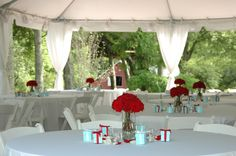 This wedding reception at Spring Haven Mansion is so cute with the red and Tiffany blue popping off the white linens and tent! You won't need much decor with this beautiful venue. Click the image to learn more. Photo credit: Spring Haven Mansion webpage