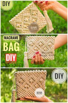 New Cost-Free Macrame diy bag Suggestions Macrame Bag Tutorial – DIY Macrame Wallet for Girls – Macrame M Diy Macrame Wall Hanging, Macrame Art, Macrame Projects, Macrame Knots, Macrame Modern, Macrame Mirror, Macrame Curtain, Wood Projects, Clutch Tutorial