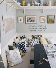 this is exactly what we're doing for kitchen! I lobe the shelving up high and mixed pattern cushions