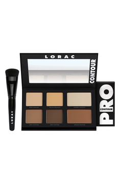 Lorac 'Pro' Contour Palette & Brush - No Color Dramatic Wedding Makeup, Wedding Makeup For Brown Eyes, Contour Brush, Contour Palette, Contour Makeup, Matte Makeup, Makeup Dupes, Best Contouring Products, Best Makeup Products