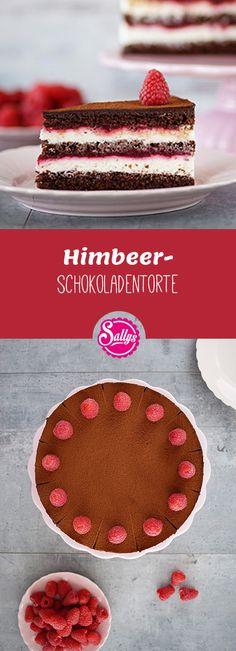 Diese Naked Cake Himbeer-Schokoladentorte  schmeckt richtig fruchtig lecker!