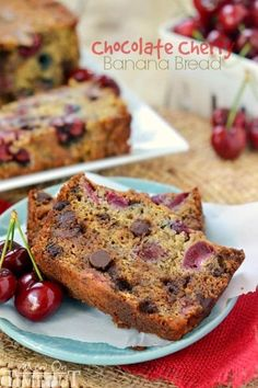 Chocolate Cherry Banana Bread! The chocolate and cherry combination is the perfect complement to this tasty banana bread recipe! Exceptionally moist and tender, you won't be able to stop at just one slice! Prepare to be amazed!