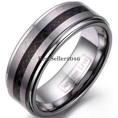 8mm Matte Finish Tungsten Carbide Ring Black Carbon Fiber Center Wedding Band…