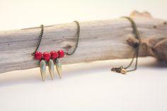 Tiny Daggers Necklace in Oxidized Brass & by shesinpartiesjewelry, $30.00