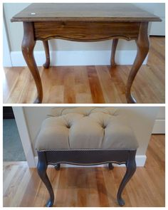 DIY tufted bench from a table