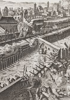 """Siege of Prague 1648 engraving from """"Theatri European History, World History, Military Engineering, Thirty Years' War, Seven Years' War, Medieval, Prague Castle, History Images, Fortification"""