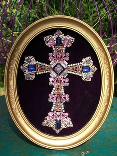 Vintage Rhinestone Jewelry Christmas Tree Framed Cross Art - Gold & Pink  #CostumeJewelry