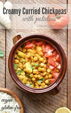 Whole Foods giveaway! http://www.womaninreallife.com/2016/01/creamy-curried-chickpeas-with-potatoes.html  This recipe for Creamy Curried Chickpeas with Potatoes is both vegan and gluten-free. It can be ready in under an hour and most of that time is cooking time, so you can be doing other things (like browsing Instagram or catching snippets of your fave show on Netflix). #vegan #wholefoods #glutenfree #healthy #plantbased #recipe