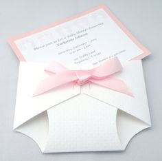 Textured Diaper Baby Shower Invitation Announcement Boy or Girl