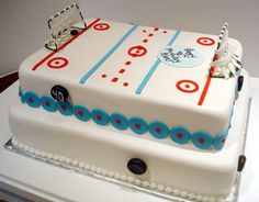 I remember my brother, as a young boy, visiting my grandma's house and being fascinated with her table-top sports hockey game. This two tier hockey cake reminds me of that table-top sports hockey game and was created for a birthday party this past Hockey Birthday Parties, Hockey Party, Birthday Cakes, 10th Birthday, Hockey Wedding, Birthday Ideas, Fancy Cakes, Cute Cakes, Crazy Cakes