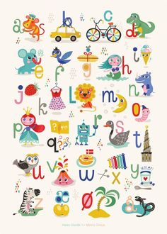 Mimi's ABC plakat By Helen Dardik x 70 cm) - Mimi´s Circus Abc Poster, Alphabet For Kids, Alphabet Art, Alphabet Posters, Alphabet Games, Diy For Kids, Gifts For Kids, Circus Illustration, Helen Dardik