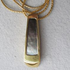 1990's Vintage MONET Modernist Long Iridescent Inlay Pendant Necklace