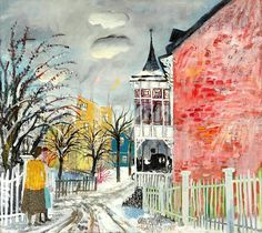 OLLE OLSSON HAGALUND  1904-1972 A cold winter day - Hagalund