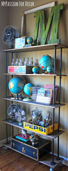 """DIY Industrial Pipe and Wood Shelving & how to get the old wood """"look"""""""