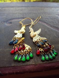 Vintage Peacock Earrings Articulated Gold by primitivepincushion, $16.50