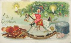 "Antique Christmas postcard ""A Jolly Christmas""  shows us something of a Victorian era Christmas."