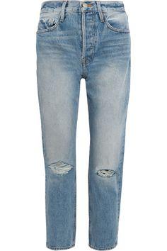 FRAME - Rigid Re-release Le Original Distressed High-rise Straight-leg Jeans - Blue - 32