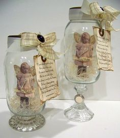 Oh My... more ADORABLE things to do with my empty jars and those Dollar Store glass candle holders!  I'm ALL OVER THIS!!!!