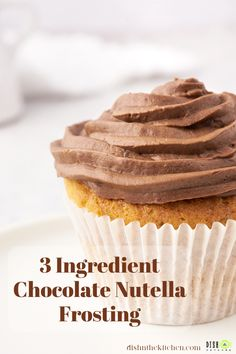 This Nutella Frosting recipe will soon become your favorite frosting for layer cakes and cupcakes. It's rich, creamy, and made with THE delicious hazelnut chocolate spread. No butter, cocoa powder, or confectioners sugar required! #nutella #nutellafrosting #frosting #icing Chocolate Spread, Chocolate Donuts, Chocolate Hazelnut, Chocolate Flavors, Melting Chocolate, Nutella Frosting, Fairy Bread, Cupcake Cakes, Cupcake