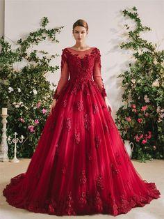 The Ruby Garden Wedding Dress Garden Wedding Dresses, Colored Wedding Dresses, Wedding Gowns, Bridal Gowns, Red Ball Gowns, Tulle Ball Gown, Ball Dresses, Formal Dresses, Yule