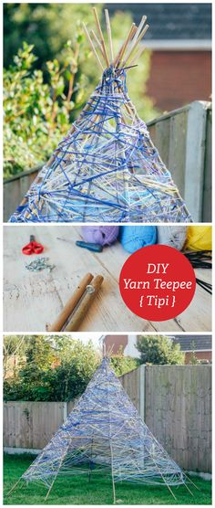 Yarn Teepee - I have never managed to grow a bean teepee.. for some reasons THOSE beans never take.... So I think this year we will have a go at this Yarn Teepee!! What fun!!!!