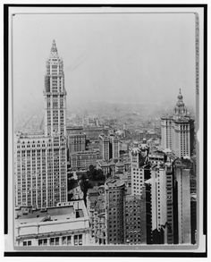 Black and white photogrpah of a Manhattan cityscape with the Woolworth Building, New York, Picture of the Woolworth Building in Manhattan. This image is available as a print. Woolworth Building, Man Photo, Post Office, Historian, Historical Photos, Empire State Building, Free Photos, Big Ben, Manhattan