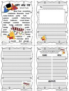 Sailing Through 1st Grade: January Word Banks and Matching Writing Paper
