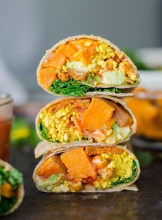 Try these sweet potato breakfast burritos with tofu scramble for a healthy vegan breakfast.