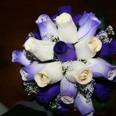 A purple and white bridal bouquet for bride or bridesmaids Wooden Flowers, White Bridal, Bridesmaids, Centerpieces, Wreaths, Purple, Crafts, Manualidades, Door Wreaths