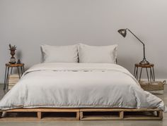 The Venice Set in Ash Sateen by Parachute Home. http://www.parachutehome.com/products/sateen-venice