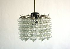 Vintage Glass Chandelier  Vintage Ceiling Pendant Lamp by OnceInUA